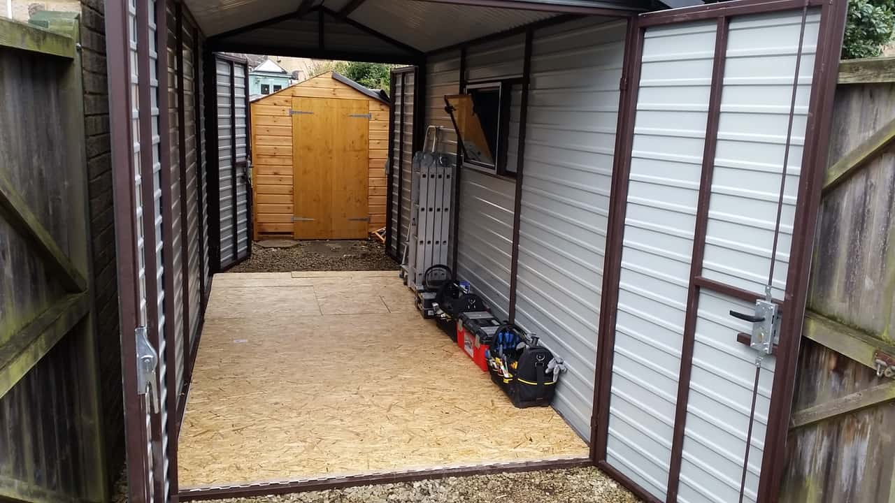 7x13ft Heavy Duty Metal Shed With 2x Double Door Secure