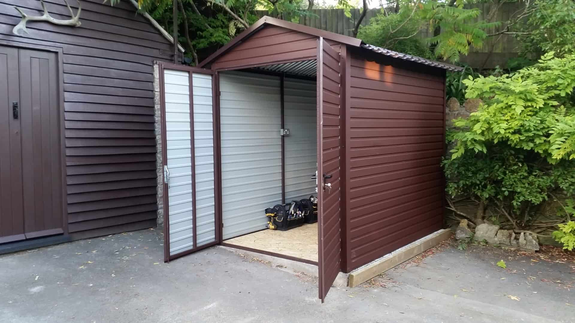 7x10ft Metal Garage With Double Door Amp Stunning Tile